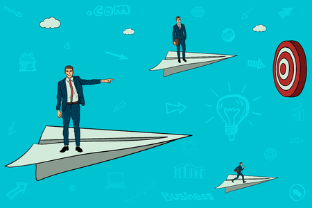 Businessmen are flying in the direction of the goal. competition. the best workers Vector illustration. Illustration