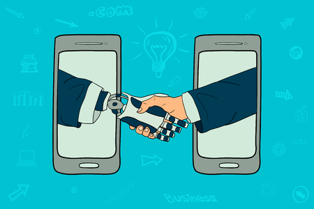 Businessmen and the robot  handshake online telephones  Vector illustration.