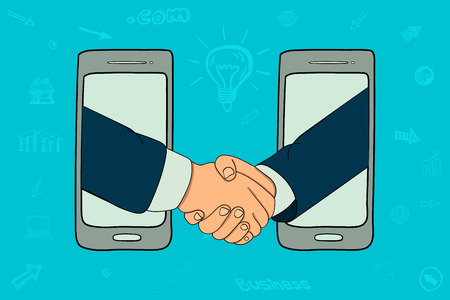 Businessmen and an employee  handshake online  telephones Vector illustration. Illustration