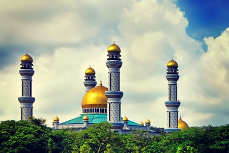 The Beautiful View of Jame Asr Hassanil Bolkiah Mosque with Green Plants in Front - Bandar Seri Begawan, Brunei, Southeast Asia