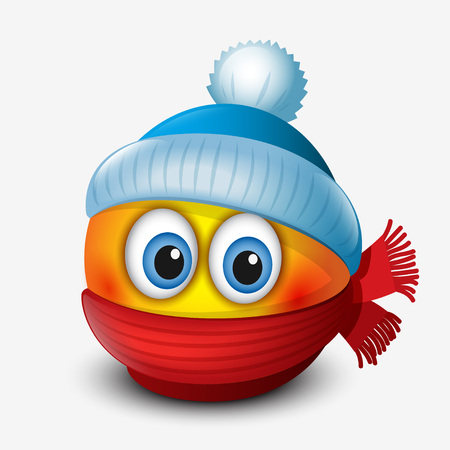 Cute winter emoticon, wearing cap and scarf, emoji, smiley Illusztráció
