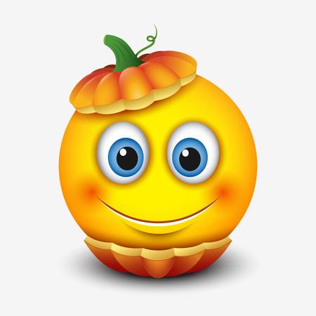 Cute smiling emoticon in Halloween pumpkin, emoji, smiley - vector illustration Illusztráció
