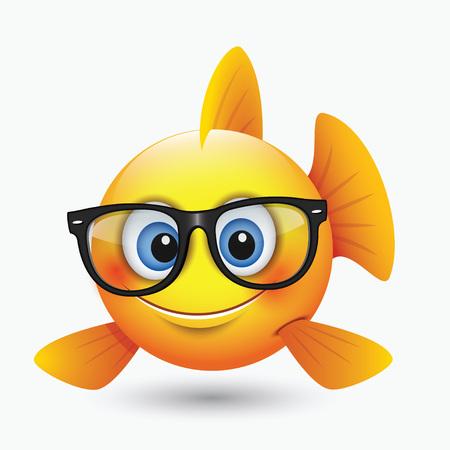 Cute fish emoticon, emoji, smiley wearing eyeglasses - isolated vector illustration