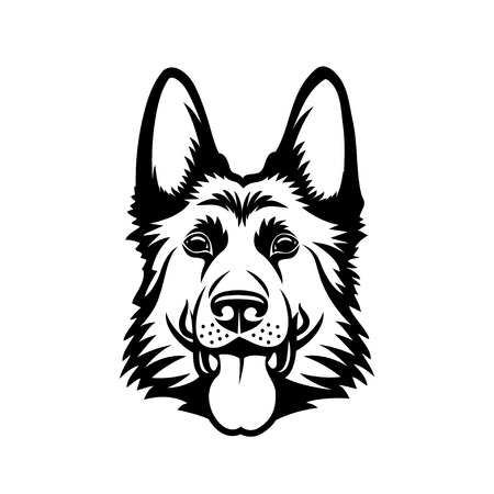 Perro pastor alemán - ilustración vectorial contorneado aislado