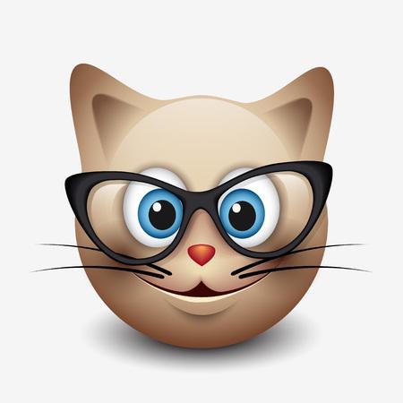 Cute smiling cat emoticon wearing eyeglasses, emoji, smiley - vector illustration