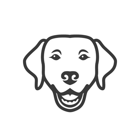 Labrador retriever dog face - isolated outlined vector illustration