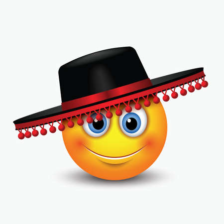 Cute emoticon wearing traditional Spanish hat - Flamenco hat - emoji, smiley - vector illustration isolated on white background