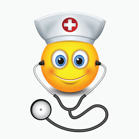 Cute nurse emoticon wearing hat and stethoscope - emoji, smiley - isolated vector illustration Vettoriali