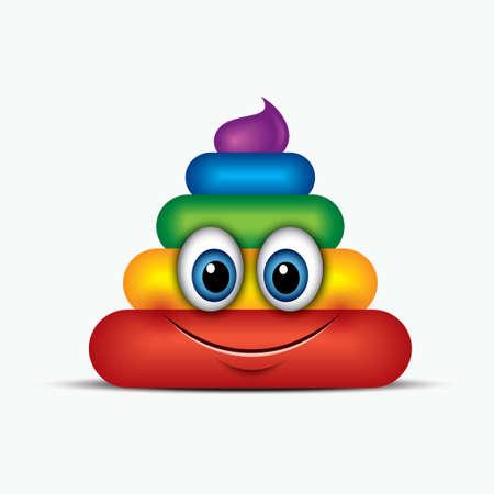 Poo emoticon, emoji, smiley - poop face, rainbow colors - vector illustration