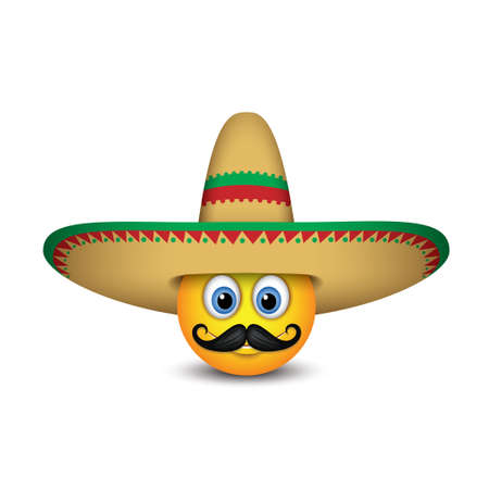 Cute Mexican emoticon with mustache wearing sombrero hat - emoji, smiley - vector illustration Illusztráció