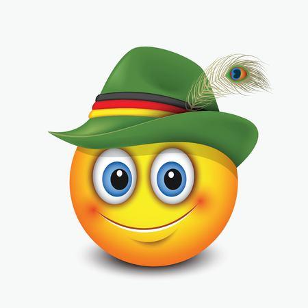 Cute emoticon wearing traditional German hat - emoji, smiley - vector illustration