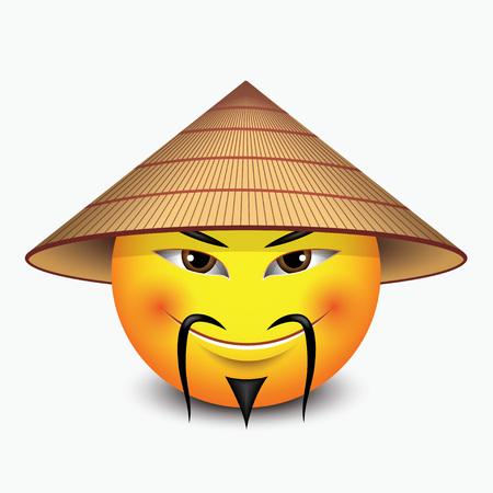 Cute emoticon wearing Asian conical rain hat - emoji, smiley - isolated vector illustraiton