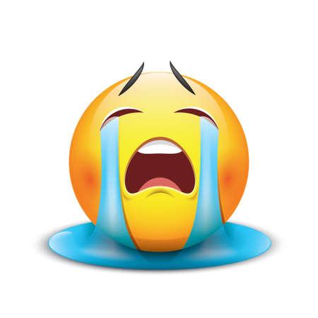 Crying sad emoticon, emoji, smiley - vector illustration