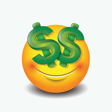 Dollar eyes emoticon, emoji, smiley - vector illustration Illusztráció