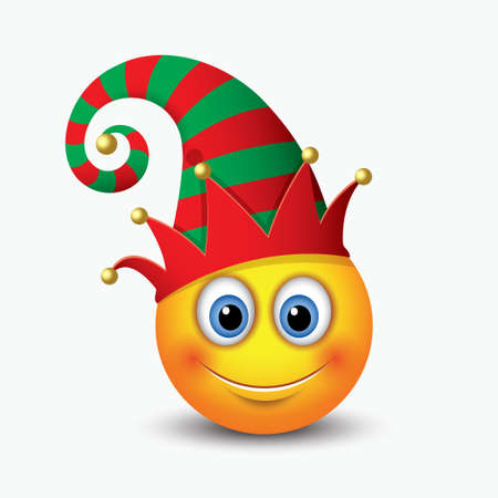 A cute Christmas Elf Santas helper emoticon emoji smiley icon