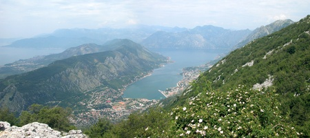 kotor: Kotor gulf, top view. Stock Photo