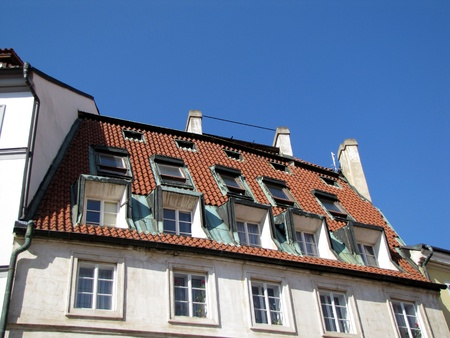 Prague, roof with windows  Stock Photo - 13843853