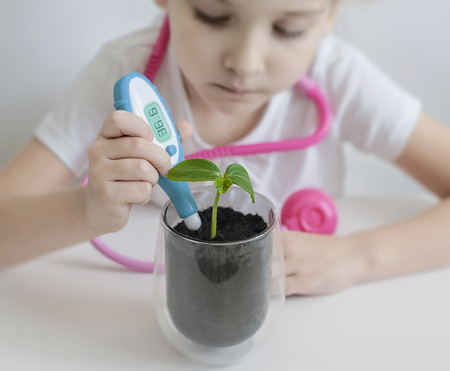 Child hand measuring temperature with thermometer. Experiment on a young plant. Caring for a new life. Climate change. Save earth from global warming. Earth day holiday concept. World Environment Day Reklamní fotografie