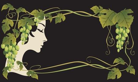 girl&grape Vector