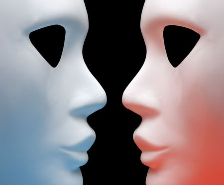 conceal: two mask on a black background