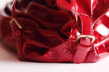 metal fastener: Red bag with metal fastener Stock Photo