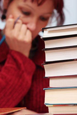 bibliomania: books,focus on a foreground Stock Photo