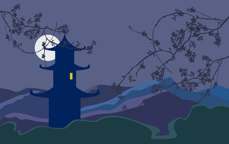 serene: Moonlight night in mountains