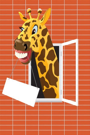 A smiling giraffe with the tablet for the text Vector