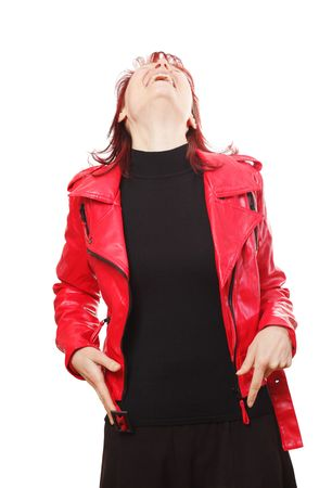 fashon: woman in red jacket on white background