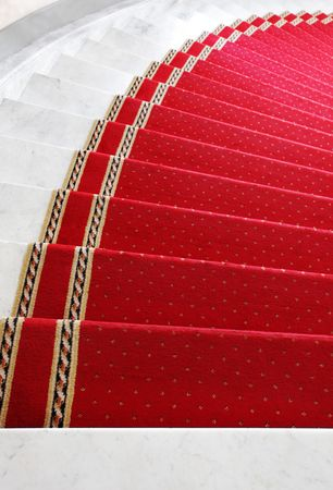 Marble a step covered by a red carpet photo