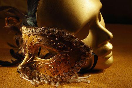 drama masks: venetian masks on a textile