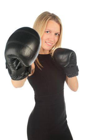 girl with boxing gloves on a white background photo