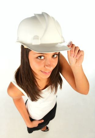 smilling: young smilling girl with helmet ,wide angle