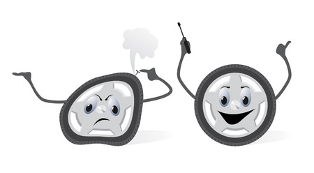 adjusting activity: The damaged and repaired wheel.