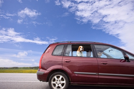 minivan on a background of cloudy sky. photo