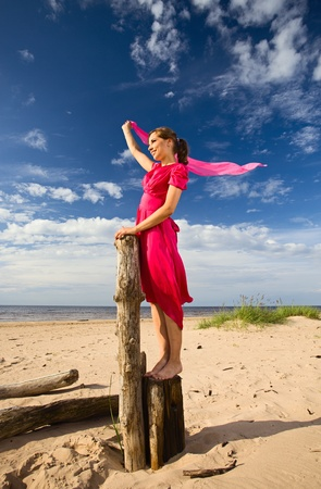 The young woman in red dress on a beach. Stock Photo - 9799116