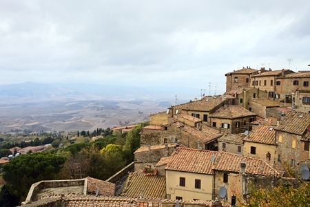 Cloudy day in October.Italy,Tuscany,Voltera. photo
