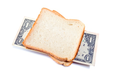 Inflation. That you can place in a sandwich - your money. Stock Photo - 11155442