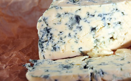 roquefort: Roquefort cheese ,focus on a foreground.