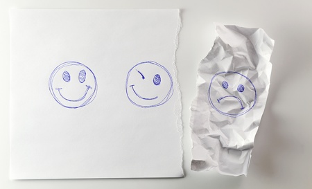 gruff: Negative emotions are not necessary to us. Stock Photo