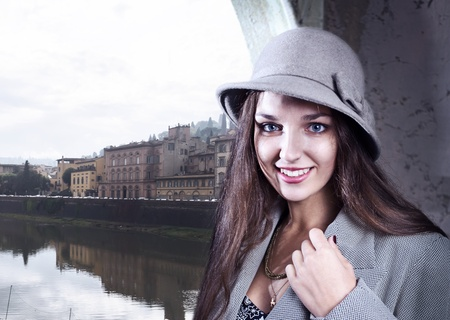 The young beautiful woman in Florence. photo