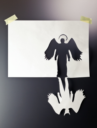 halo angel: angel and devil , place your text on a white paper.