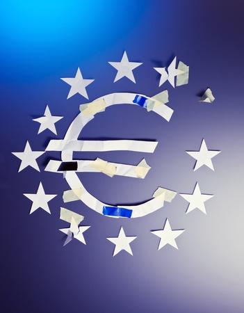 zone euro: Zone euro crise, l'image conceptuelle.
