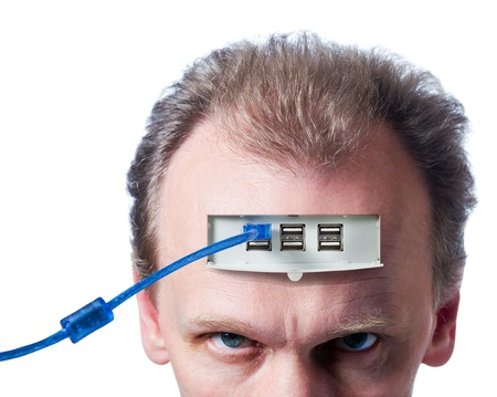 usb cable: The person connected to the computer , isolated on white.