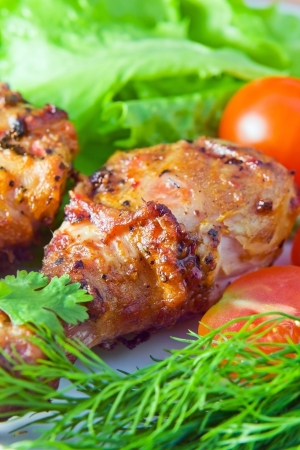 Fried chicken with fresh fennel and salad. Stock Photo - 14069522