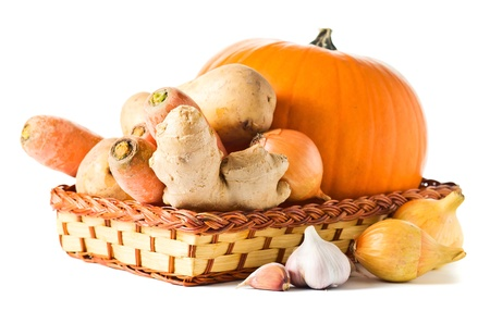 Vegetables for preparation of pumpkin soup , white background photo