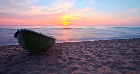 Sunset Boat on coast  HDR   Long exposure  Stock Photo - 16996511
