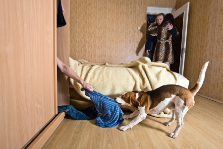 The naked lover in a wardrobe Stock Photo - 17283490