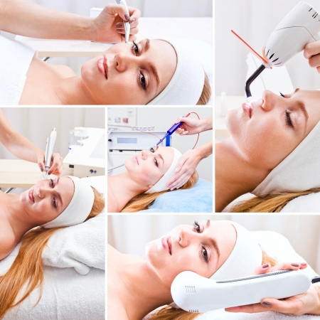 cosmetologist: The girl doing cosmetic procedures in spa clinic,saved clipping path Stock Photo