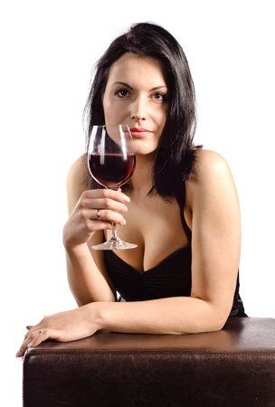 young beautiful woman with red wine , isolated on white photo